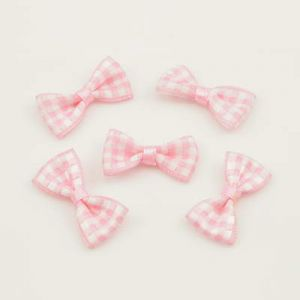 Bow ties, Satin, pink, white, 30mm x 15mm, 5  pieces, (HLJ043)
